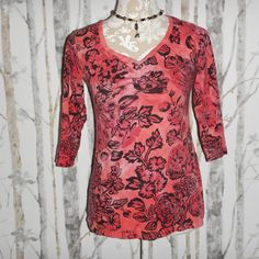 Glima Womens Pink Black Floral 3/4 Sleeve V Neck Casual Blouse Size Medium  #Glima #Blouse #Casual