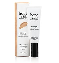 hope in a tinted moisturizer  advanced moisture and sheer color spf 20- I use this every day.  It's great, doesn't make you look like you have makeup on.