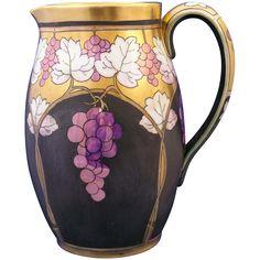 "Limoges Pickard Lustre Grapes & Leaves Pitcher (Signed ""Hessler"" for Robert Hessler/c.1905-1910)"