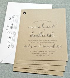 Monica Rustic Kraft Booklet Wedding Invitation with Black Calligraphy Script