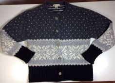Eddie Bauer Sweater Medium Womens Cardigan Long Sleeve Nordic Gray