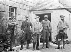 1891, May, Dalwhinnie Held at the beginning of May, there was still much snow lying and a heavy snowfall the first night added to the fun for walking. Personnel present were L to R: Stott, Rennie, Gibson, Hinxman & Munro.