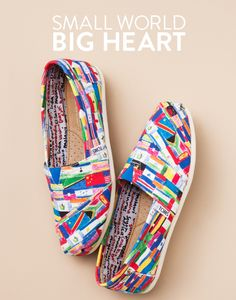 Tom's Classic Flag: The winner of the BP. Fashion Board design competition, this print represents the flags of all countries where TOMS shoes have been donated. LOVE.