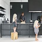 Morten Bo Jensen, of Danish industrial design company Vipp, and his partner, graphic designer Kristina May Olsen, have mixed repurposed vintage items with their own creations inside their Copenhagen apartment. See more of the house in our September 2013 Designers At Home issue. Photo by: Anders Hviid