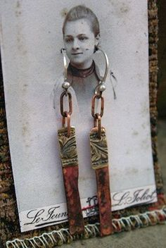 That's a fun way to display the earrings for a gift... use the recipient. for more general purpose, reprints of famous people, or early 20th century photos.