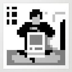 Steve Jobs 1984 minimal 8bit prints on society6 by 8bitbaba. #stevejobs #apple #pixelart #8bit #minimal #computer #8bitbaba