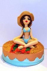 Modelado en fondant, relax en la playa (machussweetmeats) Tags: cake playa tarta mueca fondant modelada