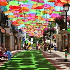 The colorful nylon umbrellas are suspended on wires strung between buildings.