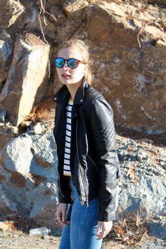 moto jacket, striped shirt and high waisted jeans