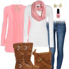 Fall Fashion - Pink, Scarf, Cardigan, Boots