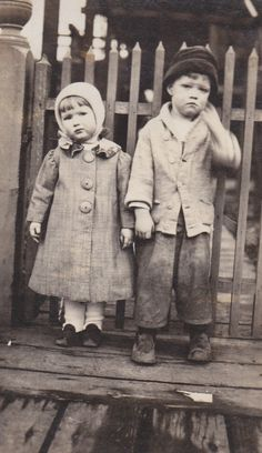 amycatim:  Let's wear hats! My grandfather and his cousin, about 1915. Adorable.