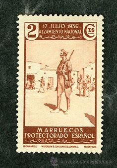 SELLO PROTECTORADO ESPAÑOL MARRUECOS 2 CTS 17 JULIO 1936 ALZAMIENTO NACIONAL (SELLOS GUERRA CIVIL) Spanish Colonial, Stamp Collecting, World Cultures, Postage Stamps, Toyota, Old Things, Africa, Portrait, Morocco