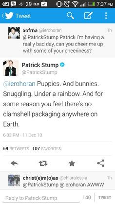 Patrick Stump is my favorite person and this should explain why.