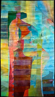 """Came Out of the Sea by Emily Richardson 53"""" by 29"""" silk organza and acrylic paint"""