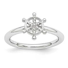 Rhodium Plated Sterling Silver Stackable Expressions Ship's Wheel Ring >>> CONTINUE @ http://www.finejewelry4u.com/store/rhodium-plated-sterling-silver-stackable-expressions-ships-wheel-ring/?c=0356