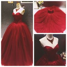 Unique Burgundy Wedding Dresses 2016 Sweetheart Appliques Backless Princess Lace Tulle Wedding Dress Ball Gowns red bridal gowns