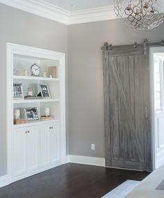 Gray Barn Doors - Transitional - bedroom - Benjamin Moore San Antonio Gray - Cory Connor Design