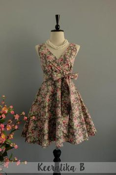 My Lady II - Pink Green Floral White Gray Summer Dress Floral Party Dress Floral Bridesmaid Dresses Tea Dress Vintage Design XS-XL