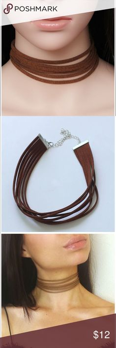 Host Pick Brown suede choker. NEW Cute brown choker. Never wore it !! 6 layer choker Jewelry Necklaces