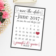 Save the Date Heart Calendar Announcement  by AlluringPrints