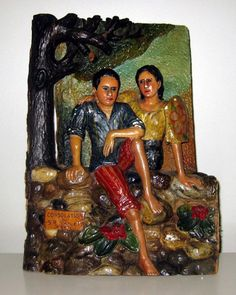 """Consolation"" Philippines Filipino painted wood carving signed SR Manuel 1945"