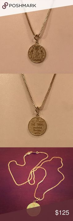 """14K Yellow Gold Gemini Zodiac Charm Gemini circle pendant in 14K yellow gold with the sign of the twins on the front. The back says: 5/22 - 6/21 THE TWINS youthful flexible witty. The pendant has a spring ring clasp and can also clip on a bracelet. Marked 14K on the clasp, very small and hard to photograph. The box chain is 20"""" long x 2mm wide with a lobster claw clasp. Marked 24K GB. NWOT. Great necklace for a Gemini! Trades PP. 14K Gold Jewelry Necklaces"""