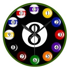 Shop Billiard Balls Wall Clock created by Personalize it with photos & text or purchase as is! Billiards Bar, Bird Paintings On Canvas, Pool Table Room, Game Room Bar, Canvas Art Projects, Clock Display, Magic 8 Ball, Clock Art, Wood Clocks