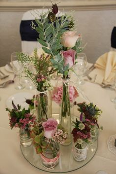 Head Table Jars, Jugs & Misc Flowers so easy and budget friendly...you could even use flowers from your own garden!