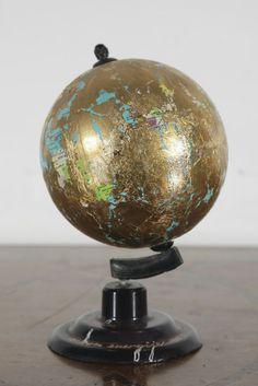"Dimitrije Bašičević (Mangelos). Study--The Law of Energy. 2455 [sic] (m. 5). Golf leaf over plastic globe. 6 1/4"" x 4 1/4"" (16 x 11 cm). Inv. 2312."