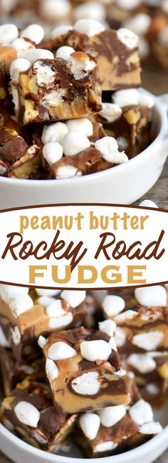 This easy, 5 Minute Peanut Butter Rocky Road Fudge is guaranteed to be a hit with the peanut butter lovers in your life! So easy to make and no candy thermometer needed! Great for the holidays and makes a lovely gift too! // Mom On Timeout