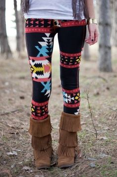 Moccasin Boots + aztec leggings and fringe vest ♥ I love it.. Rich would never leave the house with me if I wore it though lol