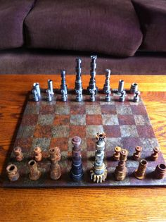 I made this chess set from old transmission parts. Half of the pieces I left outside to rust.