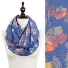 Soft Blue Pastel Flower Print Infinity Scarf