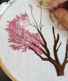 "6,350 Likes, 87 Comments - Professional Embroiderer (@delphil__) on Instagram: ""Magnolia . . . . . . . . . . . . . . #magnolia #pinktree #arbrerose #rose #pink #tree #arbre…"""