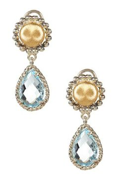 18K Gold & Blue Topaz Teardrop Earrings by Phillip Gavriel on @HauteLook