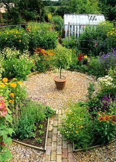 Circular ornamental flower garden - replace some of these with more herbs and attractive edibles for a potager with a cottage garden look Gravel Garden, Potager Garden, Garden Landscaping, Small Garden Ideas Gravel, Raised Herb Garden, Small Trees For Garden, Small Cottage Garden Ideas, Landscaping Ideas, Backyard Ideas