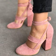 Beautiful, Cute - Adorable Pink Block Heel Sandals Suede Closed Toe Strappy Heels you best choice for Work, Date -TOP Design by FSJ