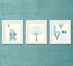 Grey and blue, teal Nursery Art Print Set, Kids Room Decor, Children Wall Art - Tree, love, baby elephant, aqua, gray, teal $39.95