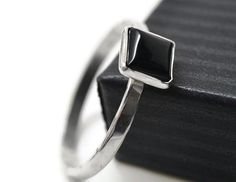 Square Onyx Ring, Minimalist Sterling Silver Bezel & Geometric Black Stone, Simple Gemstone Statement Jewelry by fifthheaven on Etsy https://www.etsy.com/listing/241418327/square-onyx-ring-minimalist-sterling