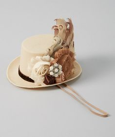 Take a look at the My Sunshine Shoppe Cream & Brown Pearl Pendant Top Hat Headband on #zulily today!