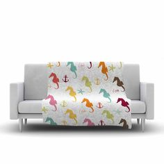 """afe images """"Colorful Seahorse Fleece Throw Blanket from KESS InHouse"""