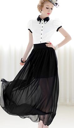 Black chiffon Skirt and retro white with black trim blouse - what a great idea for bridesmaids! ... this dress is apparently 'sold out' - sigh