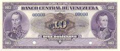 Billete del Banco Central de Venezuela. 10 Bolívares.Billete tipo specimen sin fecha