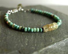 Aquamarine Opal Bracelet, Peruvian blue opals, natural yellow aquamarine, sterling beads, genuine gemstones, aquamarine blue opal jewelry