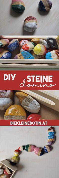 Eine einfache und tolle Anleitung für ein haltbares Steine Domino. Es wird mit Acrylfarben bemalt und lackiert. Komplettes how-to im kostenlosen E-Book!