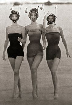 Bathing suit beauties.  Artistic vintage photo ephemera.