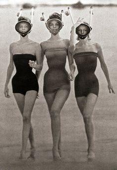 Bathing suit beauties.  Artistic vintage photo ephemera.