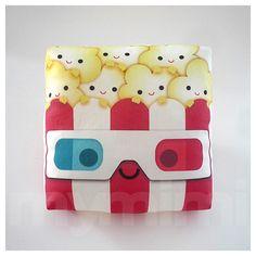Decorative Pillow, Mini Pillow, Kawaii Print, Toy Pillow - 3D Yummy Popcorn. $18.00, via Etsy.