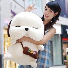 sleepy dog plush with cute bag kawaii
