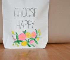 Canvas Tote Bag - Choose Happy Bag - Market Tote Bag - Book Bag - Easter Bag - Handbag - Flower Purse - Grocery Bag - Green Tote Bag by RevellHouse on Etsy